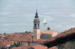 Arona på Lago Maggiore, Italien Arkivbild