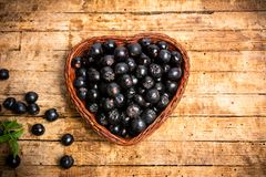 Aronia berries in a wooden box top view stock photos