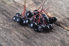 Aronia berries. On a wooden table Stock Photography