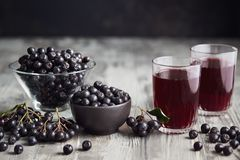 Aronia Berry Juice On Table Stock Images