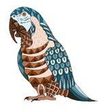 Aronu papuzi zentangle stylizował, wektor, ilustracja, wzór, fr royalty ilustracja