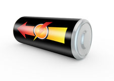 Aroow representing maximum power on a battery. 3d render of a battery with power lightning symbol Royalty Free Stock Photos