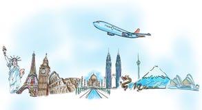 aroun κόσμος ταξιδιού ονείρου σχεδίων Στοκ Εικόνες