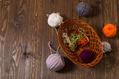 In and around a basket are clews Royalty Free Stock Photos
