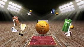 Around basketball icon, court, goalpost. Around basketball icon, court, goalpost vector illustration