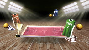Around basketball icon, rotating basketball court, goalpost. Around basketball icon, rotating basketball court stock illustration