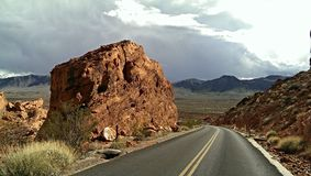 Around the Bend. Taking a stroll through the Valley of Fire royalty free stock photo