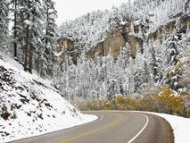 Around The Bend - Winter Scenery Spearfish Canyon Stock Image