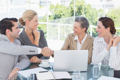 around business businessman camera desk having leaning looking meeting others sitting smiling team Στοκ φωτογραφίες με δικαίωμα ελεύθερης χρήσης
