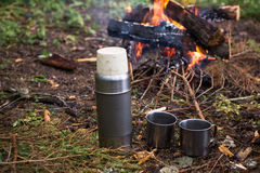 Around the campfire is a thermos and mugs. The fire in the forest on a halt. Around the campfire is a thermos and mugs Stock Image