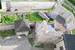 Around the castle ruins. Trencin Castle in Slovakia suitable as abstract background Royalty Free Stock Photos