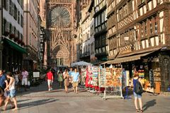 Around Cathedrale Notre-Dame In Strasbourg Royalty Free Stock Photography