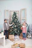 Around the Christmas tree Stock Photo
