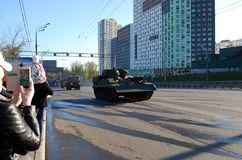 Around the city the armored recovery vehicle BREM-1. Moscow. Russia. May 3, 2017. The Victory Day parade rehearsal for May 9. Around the city the armored stock images