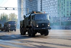 Around the city the military truck of the increased passability with wheel formula 8  ×   8 Urals-5323 goes. Moscow. Russia. May 3, 2017. The royalty free stock images