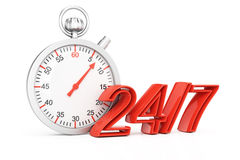 Around the clock concept. On white background. 3d rendering illustration Royalty Free Stock Photo