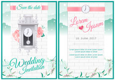 Around the clock wedding card invitation with green nature and v. Around the clock bridal shower and wedding card invitation with green nature and vintage theme Royalty Free Stock Photography