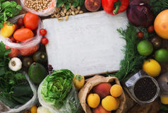 Around the cutting board set of different healthy food Royalty Free Stock Images