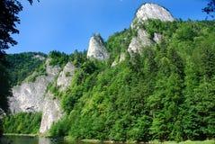 Around Dunajec river. The mountainous region, where it flows Dunajec river (Pieniny Stock Photography