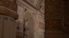 Historic Palazzio Vecchio view from inside. Around the Fountain of Neptune in Piazza della Signoria in Florence with the Palazzo Vecchio stock video footage