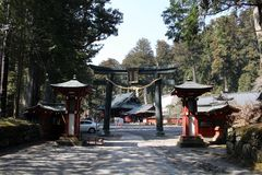 Around Futarasan Shrine and its toros lighting, in the complex. Of Toshogu Temple. Taken in Nikko, February 2018 royalty free stock images