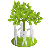 Around the green paper tree Royalty Free Stock Photos