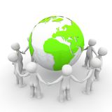 Around the green world. The character form a circle around the green earth Stock Photo