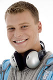 around headphones his man neck Στοκ Εικόνες