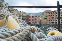 Colored houses overlooking the port of Camogli seen through a fi. Around Liguria in some of romantic and little countries - Genoa - Italy Stock Photo