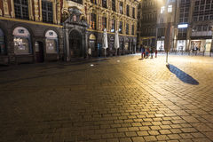 Around Lille central square at night Royalty Free Stock Photo