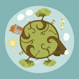 Around the Little Planet. Our Home Vector Illustration
