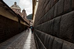 Inca walls near to the main square in Cusco, Peru. In and around the main plaza in Cusco, Peru, after a light rainfall Royalty Free Stock Image