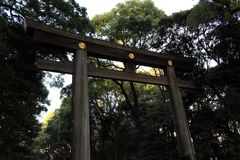 Around Meiji Jingu, a very popular Shinto shrine in the capital. Taken in Tokyo, February 2018 stock photography