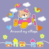 Around my village. Vector illustration for children clothes for wallpaper Stock Photo