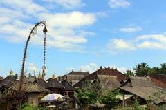 Around Penglipuran village, one iconic traditional neighborhood. Full of coconut leaves janur. Taken in Bali, July 2018 stock photos