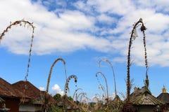 Around Penglipuran village, one iconic traditional neighborhood. Full of coconut leaves janur. Taken in Bali, July 2018 royalty free stock images