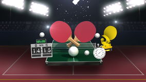Around ping pong icon, ping pong table, table tennis rackets. stock footage