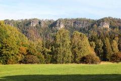 Around The Pravcicka brana, rock monument. Bohemian Switzerland, Hrensko, Czech Republic.  stock photos