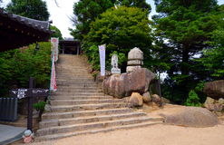 Around Reikado Hall, Mount Misen trail on Miyajima Japan. Royalty Free Stock Images