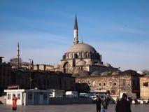 Around Spice Bazaar and New Mosque, Eminonu, Istanbul. Istanbul, Turkey - January 2012 : Exterior architecture of the Egyptian (Spice) Bazaar and New Mosque Stock Image