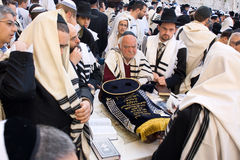 Around the Torah scroll. JERUSALEM � APRIL 05: The Jewish Pesach (Passover) celebration at the Wailing Wall on April 05 2007. A group orthodox religious Jews Royalty Free Stock Images