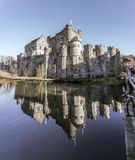 Reflection of old castle in water stock photos