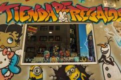 In and around Vigo - Spain. Artwork on a small comic book shop in Vigo - Spain Stock Image