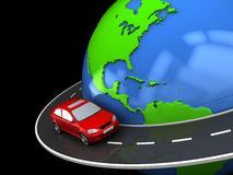 Around world. Abstract 3d illustration of road around earth globe Royalty Free Stock Photo
