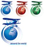 Around the world. Vectorial icon set on theme of round-the-world tour with old-fashioned biplane and globe isolated on white backgrounds. Every composition is in Stock Images