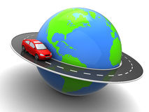 Around world. 3d illustration of car on road around earth globe Royalty Free Stock Images