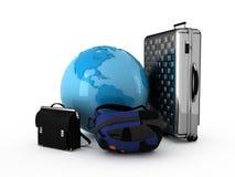Around the world. Luggage and blue globe. Isolated Royalty Free Stock Photo