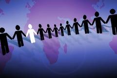 Around the world. Man icons holding hands stock illustration