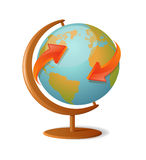 Around the world. Vector illustration of a globe with red arrows Stock Photo