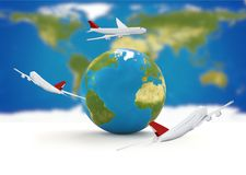 Around the world. airplanes earth 3d-illustration. elements of t. His image furnished by NASA design Royalty Free Stock Image
